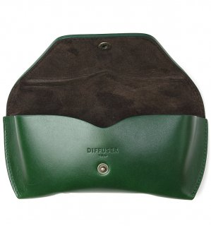 OILE LEATHER EYEWEAR CASE / Green & Dark Brown
