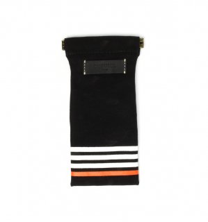 STRIPE CANVAS SOFT EYEWEAR CASE / Black & Black Leather