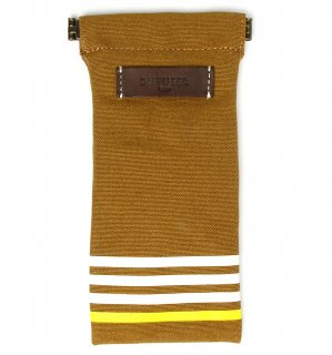 STRIPE CANVAS SOFT EYEWEAR CASE / Dark Brown & Dark Brown Leather