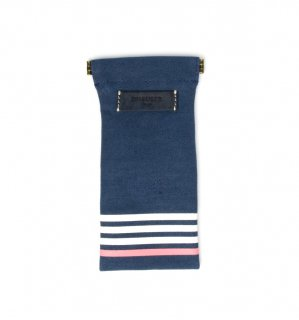 STRIPE CANVAS SOFT EYEWEAR CASE / Navy & Navy Leather