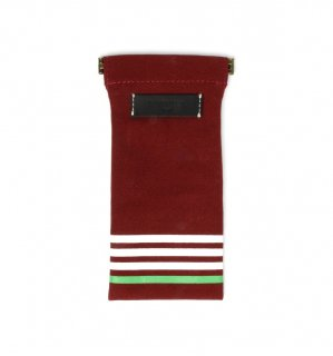 STRIPE CANVAS SOFT EYEWEAR CASE / Red & Black Leather