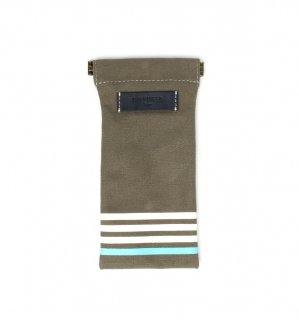 STRIPE CANVAS SOFT EYEWEAR CASE / Grey  & Navy Leather