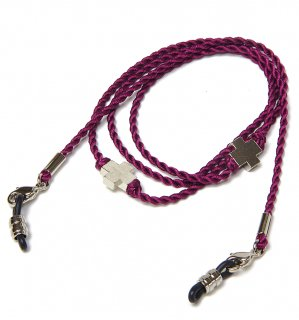 CROSS SILK BRACE  CORD -SILVER / Purple