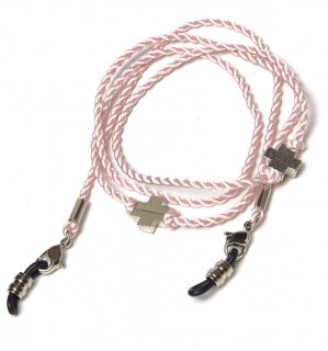 CROSS SILK BRACE  CORD -SILVER / Light Pink