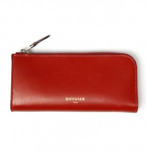 HIGH-END LEATHER EYEWEAR CASE (L) / Red & Light Blue