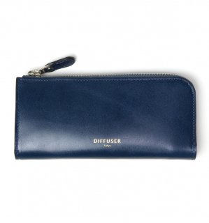 HIGH-END LEATHER EYEWEAR CASE (L) / Blue & Light Grey Brown