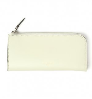 HIGH-END LEATHER EYEWEAR CASE (L) / White & Light Blue Green