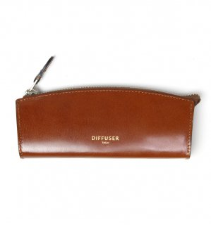 HIGH-END LEATHER EYEWEAR CASE (S) / Dark Brown & Light Green
