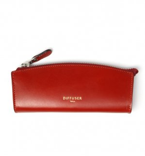 HIGH-END LEATHER EYEWEAR CASE (S) / Red & Light Blue