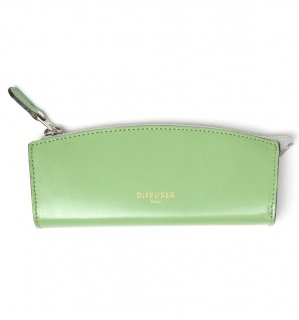 HIGH-END LEATHER EYEWEAR CASE (S) / Light Green & Dark Red