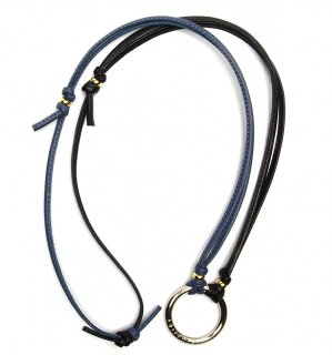 TOW TONE STICH LEATHER GLASS HOLDER 2 / Dark Blue & Black