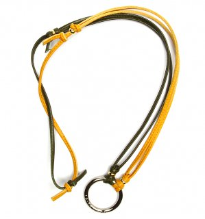 TOW TONE STICH LEATHER GLASS HOLDER 2 / Khaki & Yellow