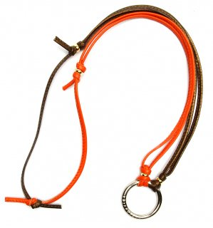 TOW TONE STICH LEATHER GLASS HOLDER 2 / Orange & Bronze
