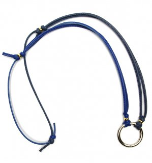 TOW TONE STICH LEATHER GLASS HOLDER 2 / Blue & Dark Blue