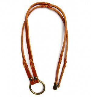 TWISTED LEATHER GLASS HOLDDER / Orange