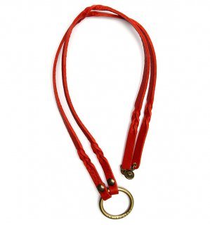 TWISTED LEATHER GLASS HOLDDER / Red