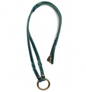 TWISTED LEATHER GLASS HOLDDER / Turquoise