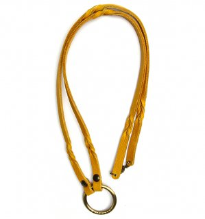 TWISTED LEATHER GLASS HOLDER / Yellow