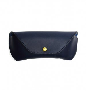 HORWEEN LEATHER EYEWEAR CASE / Blue Navy & Blue