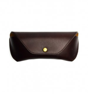 HORWEEN LEATHER EYEWEAR CASE / Brown on Red & Brown