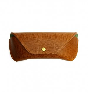 HORWEEN LEATHER EYEWEAR CASE / Camel & Light Green