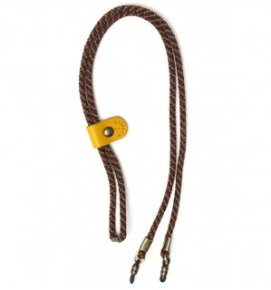 ADJUSTABLE LENGTH GLASS CODE 3 / Dark Brown & Brown / Yellow Leather