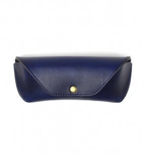 HORWEEN LEATHER EYEWEAR CASE / Dark Blue & Black