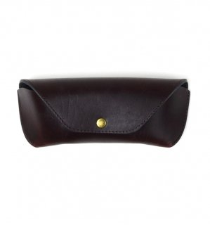 HORWEEN LEATHER EYEWEAR CASE / Crush Burgundy & Black