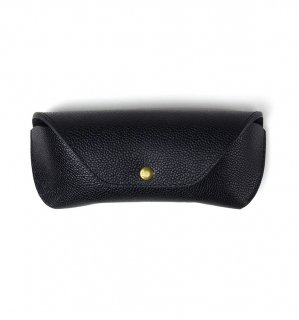 HORWEEN LEATHER EYEWEAR CASE / Black(Emboss) & Black