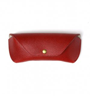 HORWEEN LEATHER EYEWEAR CASE / Red(Emboss) & Light Grey