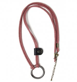 LINEN MILITARY GLASS HOLDER / Pink & Black leather