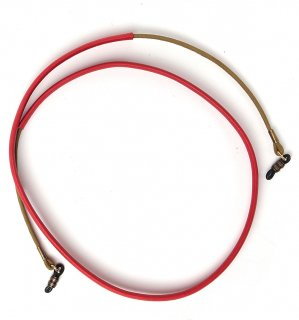 COMBINATION TWO LEATHER GLASS CORD / Khaki & Red