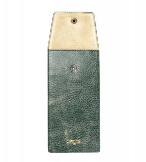 CRUSH LEATHER  SOFT EYEWEAR CASE  / Green & Beige