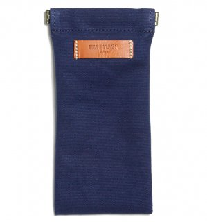 COTTON CANVAS  SOFT EYEWEAR CASE  / Navy & Orange Leather