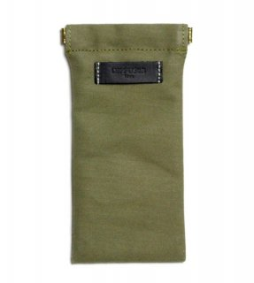 COTTON CANVAS  SOFT EYEWEAR CASE  / Khaki & Black Leather