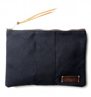 VERSATILE CANVAS POUCH  / Black & Dark Brown Leather (inside Green)