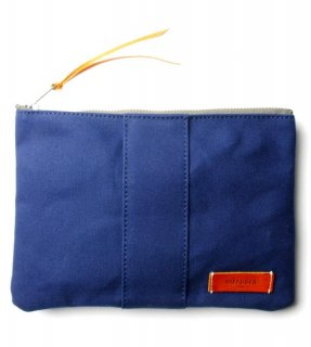 VERSATILE CANVAS POUCH  / Navy & Orange Leather (inside Green)