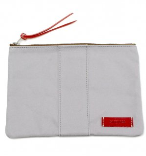 VERSATILE CANVAS POUCH  / Grey & Red Leather  (inside Bege)