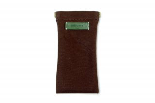 COTTON CANVAS  SOFT EYEWEAR CASE  / Dark Brown & Green Leather