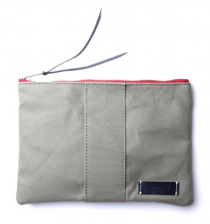 VERSATILE CANVAS POUCH  / Khaki & Black Leather  (inside Bege)