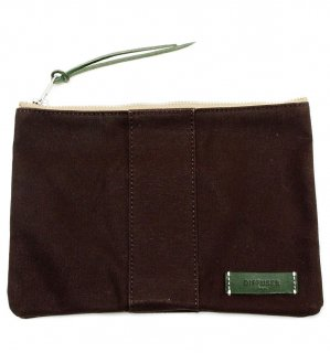 VERSATILE CANVAS POUCH  / Dark Brown & Green Leather   (inside Green)