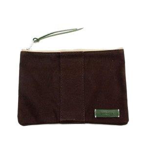 VERSATILE CANVAS POUCH  / Dark Brown & Green Leather   (inside Green)