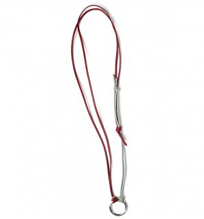 TOW TONE STICH LEATHER GLASS HOLDER / Dark Red & Grey