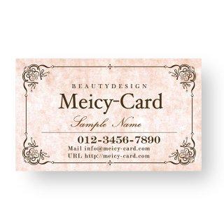 【 可愛い名刺 】 サロン名刺|美容院・ネイルに!アンティークフレームデザインショップカード01
