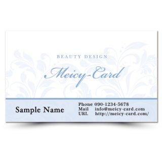 【 可愛い名刺 】 サロン名刺・ショップカード|華麗な植物リーフデザインカード02
