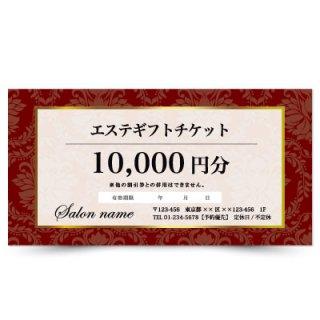 【クーポンチケット・割引券】サロンご優待券|ゴールドフレームダマスク柄デザイン02