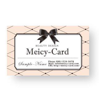 【 可愛い名刺】 サロン名刺・ショップカード|マツエク・ネイルサロン!かわいいリボンデザイン02