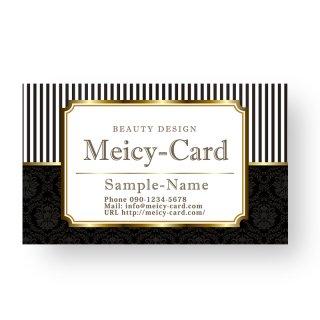 【 可愛い名刺 】 サロン名刺・ショップカード|エステ・マツエクサロン!ゴールドフレームデザイン01