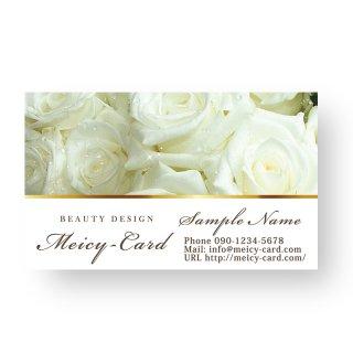 【 可愛い名刺 】 サロン名刺・ショップカード|エステ・美容サロンスクールに!エレガントな薔薇デザイン01