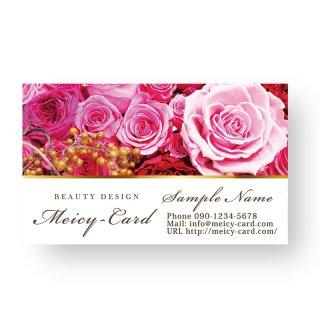 【 可愛い名刺 】 サロン名刺・ショップカード|エステ・美容サロンスクールに!エレガントな薔薇デザイン02